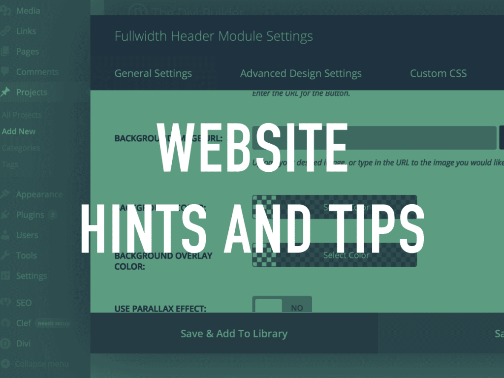 Website Hints and Tips